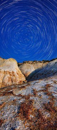 startrails, rocks, night